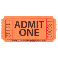 "Carnival King Orange 1-Part ""Admit One"" Tickets   - 2000/Roll"
