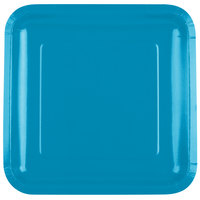 Creative Converting 463040 9 inch Turquoise Blue Square Paper Plate - 180/Case