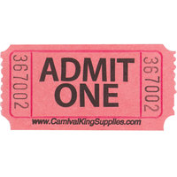 "Carnival King Pink 1-Part ""Admit One"" Tickets   - 2000/Roll"