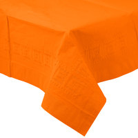 Creative Converting 710237 54 inch x 108 inch Sunkissed Orange Tissue / Poly Table Cover - 6/Case