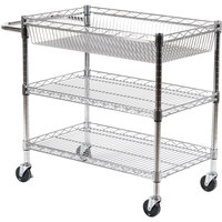 Luxor LICWT2918 Three Shelf Wire Mail Cart Adjustable - 18 inch x 30 inch x 30 inch