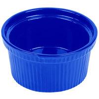 Tablecraft CW1620CBL 1 Qt. Cobalt Blue Cast Aluminum Souffle Bowl with Ridges