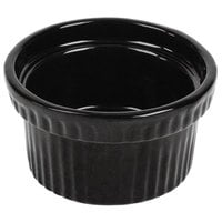Tablecraft CW1610MBS 10.5 oz. Midnight with Blue Speckle Cast Aluminum Souffle Bowl with Ridges
