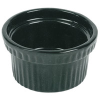 Tablecraft CW1610HGNS 10.5 oz. Hunter Green with White Speckle Cast Aluminum Souffle Bowl with Ridges