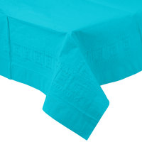 Creative Converting 711039 54 inch x 108 inch Bermuda Blue Tissue / Poly Table Cover - 6/Case