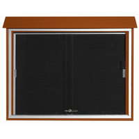 Aarco 36 inch x 45 inch Cedar Outdoor Plastic Lumber Message Center with Letter Board - Sliding Door