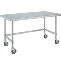 14 Gauge Metro MWT306US 30 inch x 60 inch HD Super Open Base Stainless Steel Mobile Work Table