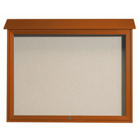 Aarco 36 inch x 45 inch Cedar Outdoor Plastic Lumber Message Center with Vinyl Tackboard - Single Top Hinged Door