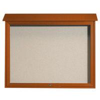 Aarco 36 inch x 45 inch Cedar Outdoor Plastic Lumber Message Center with Vinyl Tackboard - Single Top Hinged Door