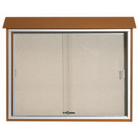 Aarco 36 inch x 45 inch Cedar Outdoor Plastic Lumber Message Center with Vinyl Tackboard - Sliding Door
