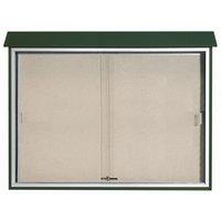 Aarco 40 inch x 52 inch Green Outdoor Plastic Lumber Message Center with Vinyl Tackboard - Sliding Door