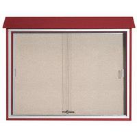 Aarco 36 inch x 45 inch Rosewood Outdoor Plastic Lumber Message Center with Vinyl Tackboard - Sliding Door
