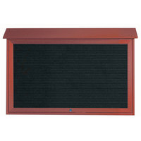 Aarco 30 inch x 45 inch Rosewood Outdoor Plastic Lumber Message Center with Letter Board - Single Top Hinged Door