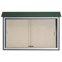 Aarco 30 inch x 45 inch Green Outdoor Plastic Lumber Message Center with Vinyl Tackboard - Sliding Door