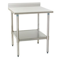 """Eagle Group T3036SEB-BS 30"""" x 36"""" Stainless Steel Deluxe Work Table with Backsplash and Stainless Steel Undershelf"""