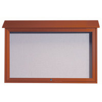 Aarco 30 inch x 45 inch Cedar Outdoor Plastic Lumber Message Center with Vinyl Tackboard - Single Top Hinged Door