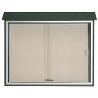 Aarco 36 inch x 45 inch Green Outdoor Plastic Lumber Message Center with Vinyl Tackboard - Sliding Door