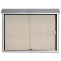 Aarco PLDS4052-2 40 inch x 52 inch Light Gray Outdoor Plastic Lumber Message Center with Vinyl Tackboard - Sliding Door