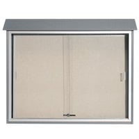 Aarco 36 inch x 45 inch Light Gray Outdoor Plastic Lumber Message Center with Vinyl Tackboard - Sliding Door