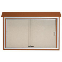 Aarco 30 inch x 45 inch Cedar Outdoor Plastic Lumber Message Center with Vinyl Tackboard - Sliding Door