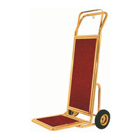 Aarco Bellman's Stainless Steel Brass Finish Carpeted Luggage Cart / Hand Truck - 19 inch x 15 inch x 48 inch