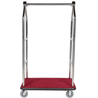 Aarco LC-2C Stainless Steel Chrome Finish Luggage Cart with Clothing Rail - 42 inch x 24 inch Platform