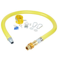 T&S HG-4D-48-RC Safe-T-Link 48 inch Coated Gas Connector Hose with 3/4 inch NPT Male Ends, Quick Disconnect, and Restraining Cable Kit