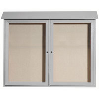 Aarco 36 inch x 45 inch Light Gray Outdoor Plastic Lumber Message Center with Vinyl Tackboard - Dual Hinged Doors