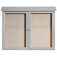 Aarco 36 inch x 45 inch Light Gray Outdoor Plastic Lumber Message Center with Vinyl Tackboard - Dual Hinged Doors