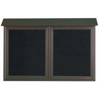 Aarco 30 inch x 45 inch Green Outdoor Plastic Lumber Message Center with Letter Board - Dual Hinged Doors
