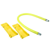T&S HG-4E-48-PS Safe-T-Link 48 inch Coated Gas Connector Hose with Swivel Fittings, Quick Disconnect, 90 Degree Elbows, and POSI-SET Wheel Placement System