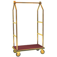 Aarco LC-2B Stainless Steel Brass Finish Luggage Cart with Clothing Rail - 42 inch x 24 inch Platform