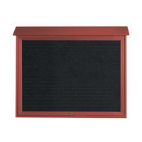 Aarco 36 inch x 45 inch Rosewood Outdoor Plastic Lumber Message Center with Letter Board - Single Top Hinged Door