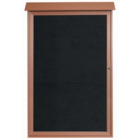 Aarco PLD5438L-5 54 inch x 38 inch Cedar Outdoor Plastic Lumber Message Center with Letter Board - Single Hinged Door