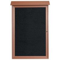 Aarco 48 inch x 32 inch Cedar Outdoor Plastic Lumber Message Center with Letter Board - Single Hinged Door
