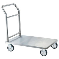 Aarco SB-1C One-Piece Stainless Steel Chrome Finish Luggage Cart - 36 inch x 24 inch x 36 inch