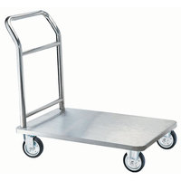Aarco One-Piece Stainless Steel Chrome Finish Luggage Cart - 36 inch x 24 inch x 36 inch