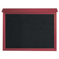 Aarco 40 inch x 52 inch Rosewood Outdoor Plastic Lumber Message Center with Letter Board - Single Top Hinged Door