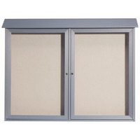 Aarco PLD4052-22 40 inch x 52 inch Light Gray Outdoor Plastic Lumber Message Center with Vinyl Tackboard - Dual Hinged Doors