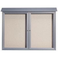 Aarco 40 inch x 52 inch Light Gray Outdoor Plastic Lumber Message Center with Vinyl Tackboard - Dual Hinged Doors