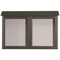 Aarco 30 inch x 45 inch Green Outdoor Plastic Lumber Message Center with Vinyl Tackboard - Dual Hinged Doors