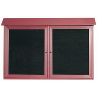 Aarco 30 inch x 45 inch Rosewood Outdoor Plastic Lumber Message Center with Letter Board - Dual Hinged Doors