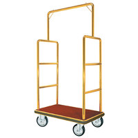 Aarco LC-1B Rectangular Stainless Steel Brass Finish Luggage Cart with Clothing Rail - 42 inch x 24 inch Platform