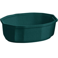 Tablecraft CW1780HGNS 2 Qt. Hunter Green with White Speckle Cast Aluminum Oval Prism Bowl