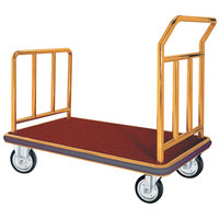 Aarco FB-1B Stainless Steel Brass Finish Luggage Cart - 42 inch x 24 inch x 36 inch