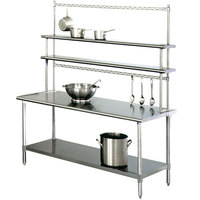 Eagle Group T3060SE-FM-PL 30 inch x 60 inch Stainless Steel Spec-Master Work Table with Flex-Master Overshelf Kit and Pot Racks