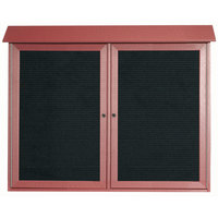Aarco 36 inch x 45 inch Rosewood Outdoor Plastic Lumber Message Center with Letter Board - Dual Hinged Doors