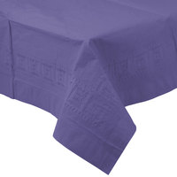 Creative Converting 710232 54 inch x 108 inch Purple Tissue / Poly Table Cover - 6/Case