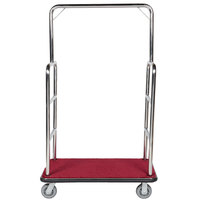 Aarco Rectangular Stainless Steel Chrome Finish Luggage Cart with Clothing Rail - 42 inch x 24 inch Platform