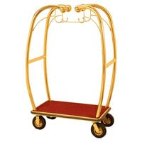 Aarco BEL-101B Stainless Steel Brass Finish Luggage Cart with Hooks - 47 inch x 25 inch x 73 inch